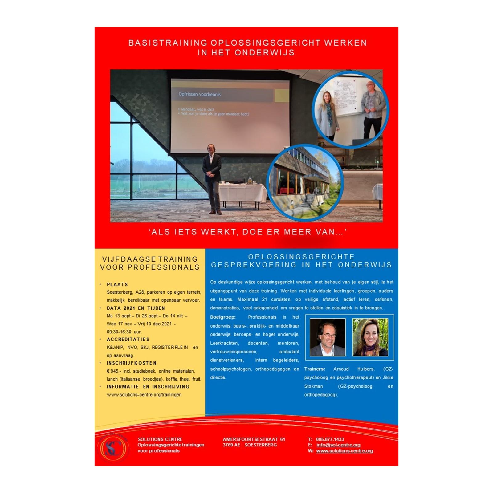 Basistraining Oplossingsgericht Werken in het Onderwijs, Solutions Centre, Soesterberg, Arnoud Huibers, Jikke Stokman