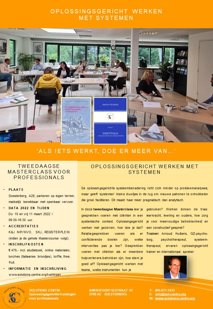 Masterclass Systeemgericht en Oplossingsgericht werken Arnoud Huibers