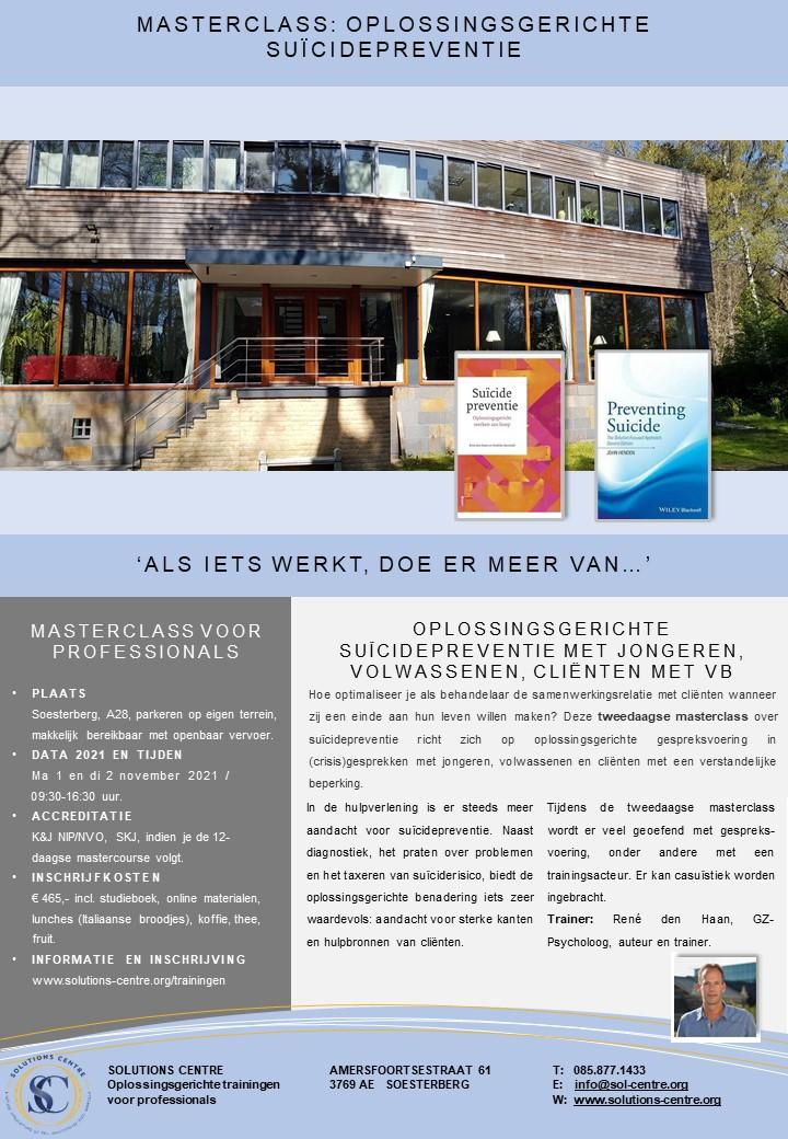 Masterclass Oplossingsgerichte Suïcidepreventie, Solutions Centre, Soesterberg, René den Haan
