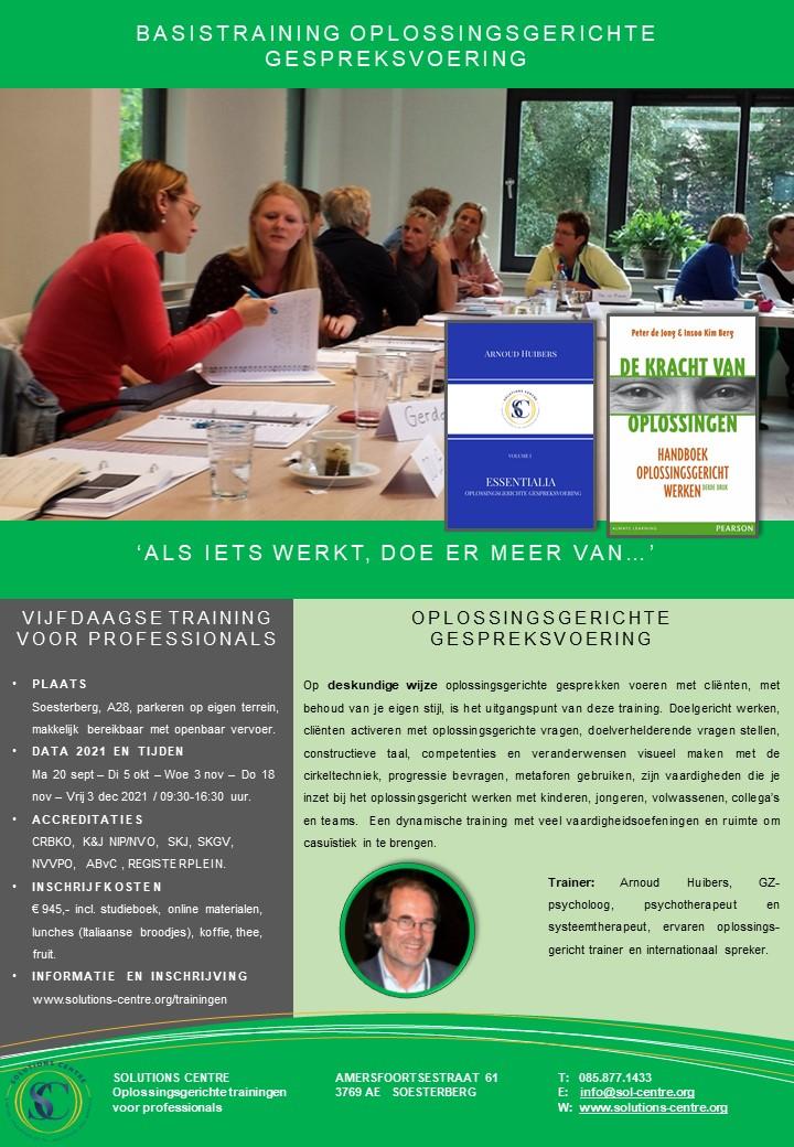 Basistraining Oplossingsgerichte Gespreksvoering, Solutions Centre, Soesterberg, Arnoud Huibers
